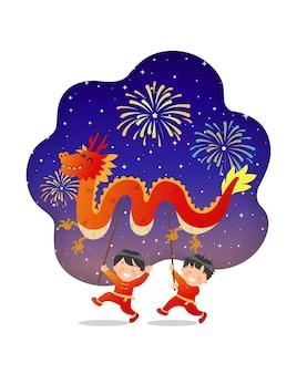 Bambini carini eseguono la danza del drago cinese per il festival del capodanno lunare nel cielo notturno con fuochi d'artificio. stile cartone animato