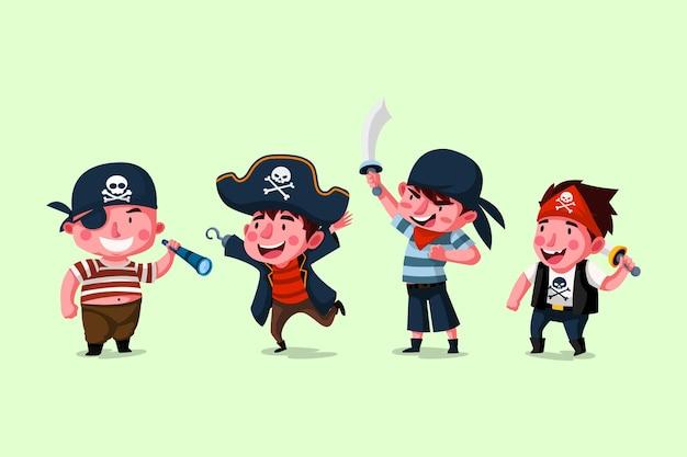 Set di caratteri pirata per bambini carini