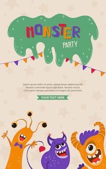 Poster di bambini carini con mostri in stile cartone animato. modello di invito a una festa con personaggi divertenti. biglietto di auguri per una vacanza, compleanno.