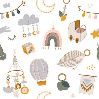 Modello senza cuciture scandinavo di bambini svegli con animali divertenti, giocattoli mobili per bambini, pouf, foglie, fiori. illustrazione di doodle del fumetto per baby shower, arredamento della stanza della scuola materna, design per bambini. .