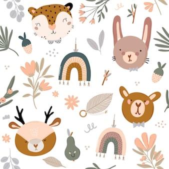 Modello senza cuciture scandinavo di bambini svegli con animali divertenti, giocattoli mobili per bambini, pouf, foglie, fiori. illustrazione di doodle del fumetto per baby shower, arredamento della stanza della scuola materna, bambini. .