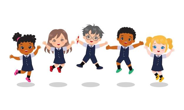Ragazzi carini in uniforme scolastica che saltano insieme. clipart educativi. cartone animato isolato