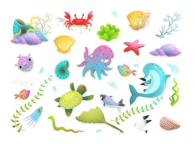 Simpatici set di creature marine per bambini: delfini, stelle marine, pesci e calamari, granchi e altre divertenti creature sottomarine. cartone animato.