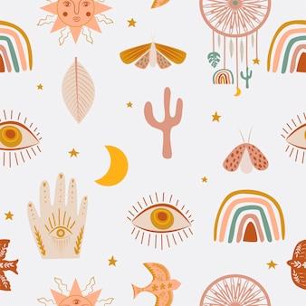 Modello senza cuciture di bambini svegli con elementi mistici di boho elementi occhio arcobaleno mano cactus insetto luna stella sole in stile cartone animato