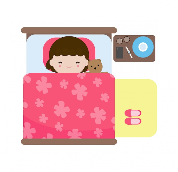 Bambini svegli che dormono nel letto, bambini felici dormono nel letto, buona notte, concetto di routine quotidiana, isolato su sfondo bianco illustrazione in stile piano