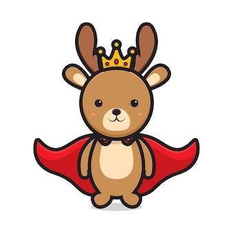 Simpatico personaggio mascotte re cervo. disegno isolato su sfondo bianco