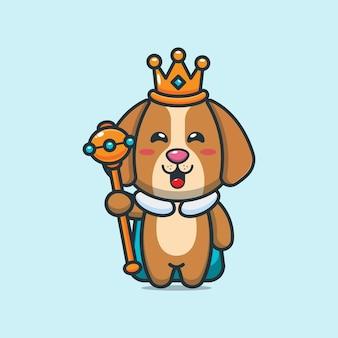 Simpatico re cane fumetto illustrazione vettoriale