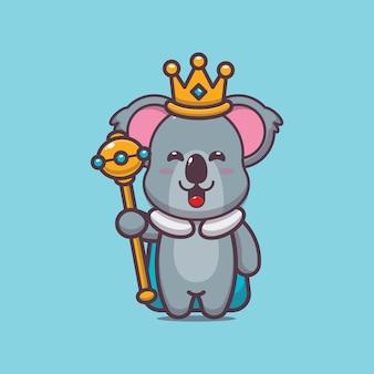 Carino re koala cartone animato illustrazione vettoriale