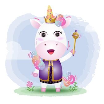 Illustrazione di vettore di unicorno re carino