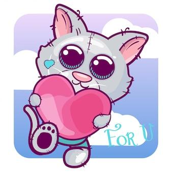 Cartone animato carino gattino con il cuore