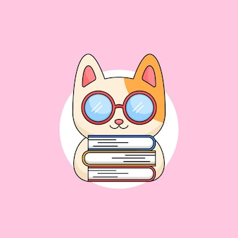 Gattino carino gatto che indossa occhiali geek che trasportano libri topo di biblioteca animale mascotte fumetto illustrazione