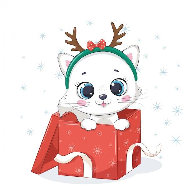 Gattino sveglio in confezione regalo. illustrazione