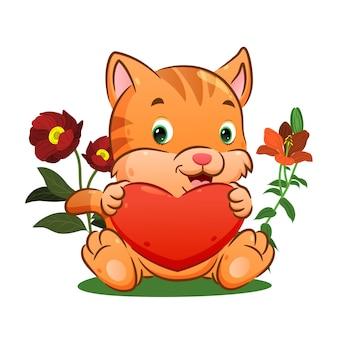 Il simpatico gattino tiene un grande cuore sulle mani nel parco dei fiori dell'illustrazione