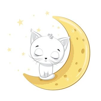 Il gattino sveglio sta dormendo sulla luna