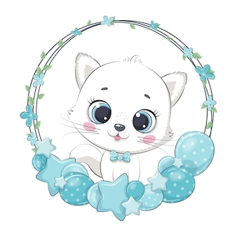 Gattino carino con palloncino e ghirlanda.