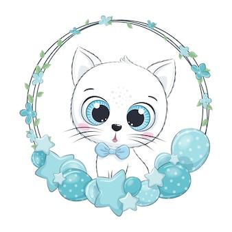 Gattino carino con palloncino e ghirlanda
