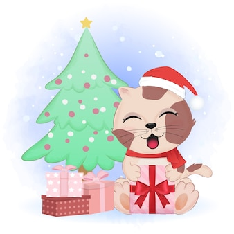 Gattino sveglio con scatola regalo e albero di pino, illustrazione di stagione natalizia.