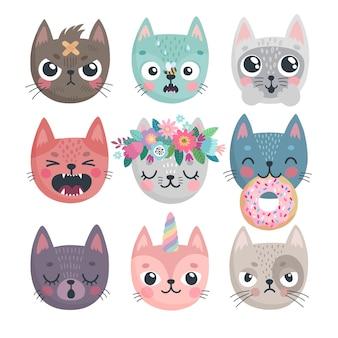 Simpatici gattini personaggi con emozioni diverse, gioia, rabbia, felicità e altri