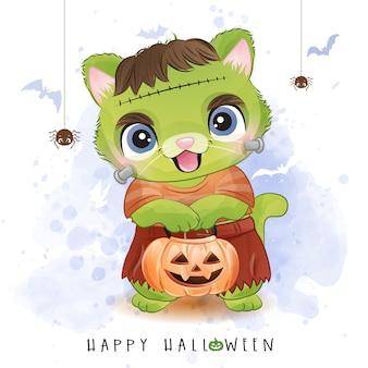 Gattino sveglio per il giorno di halloween con l'illustrazione dell'acquerello