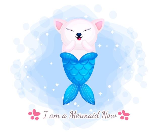 Simpatico personaggio dei cartoni animati di gattino sirena e amici