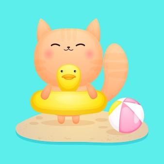 Gattino carino sulla boa di nuoto cartone animato estivo