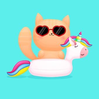 Gattino carino sulla boa di nuoto dell'unicorno cartone animato estivo