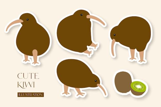 Collezione di illustrazioni di kiwi carino