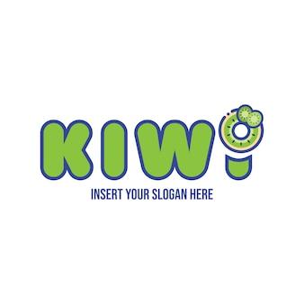 Simpatico modello di progettazione del logo della ciambella al kiwi