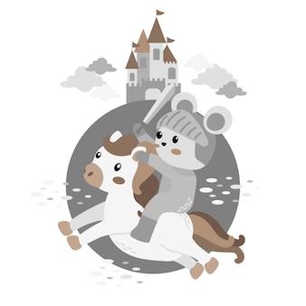 Illustrazione di doodle del fumetto sveglio del cavaliere
