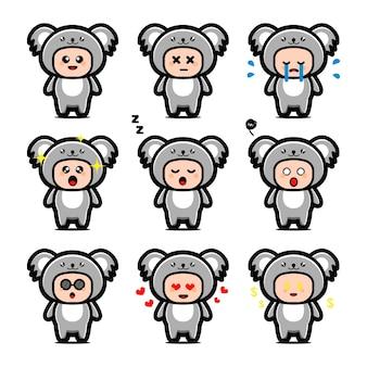 Simpatico personaggio dei cartoni animati di koala isolato su bianco