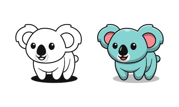 Simpatici cartoni animati di koala da colorare per bambini