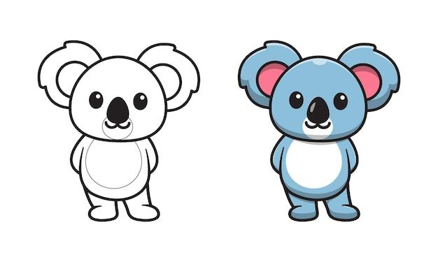 Simpatico cartone animato koala pagine da colorare