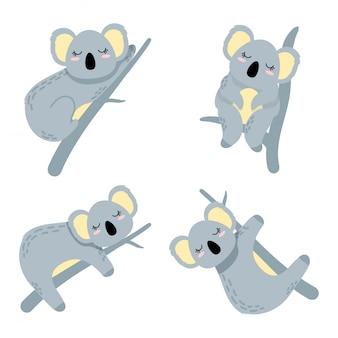 Set di elementi fumetto koala sveglio