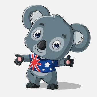 Simpatico cartone animato koala, disegnato a mano