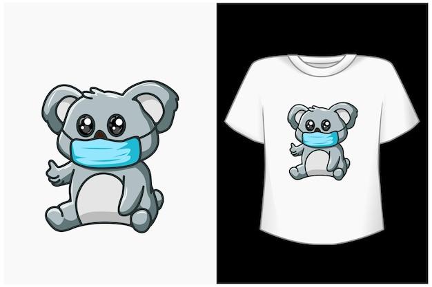 Carino koala cartoon illustrazione Vettore Premium
