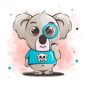 Simpatico cartone animato koala con lente di ingrandimento