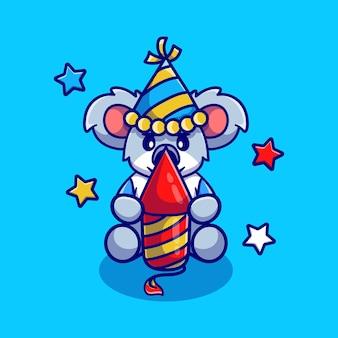 Simpatico koala che festeggia il nuovo anno con un razzo di fuochi d'artificio