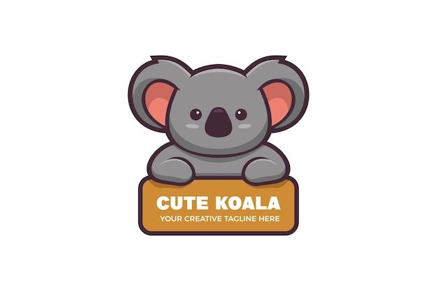 Simpatico modello di logo della mascotte del personaggio di koala