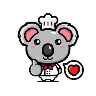 Simpatico chef koala in posa bene