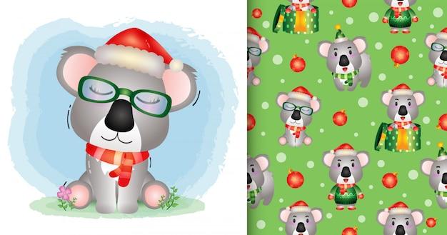 Un simpatico personaggio natalizio koala con cappello e sciarpa di babbo natale