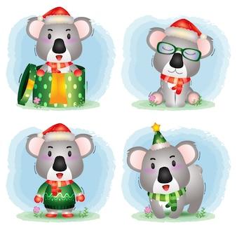 Simpatica collezione di personaggi natalizi koala con cappello, giacca, sciarpa e confezione regalo