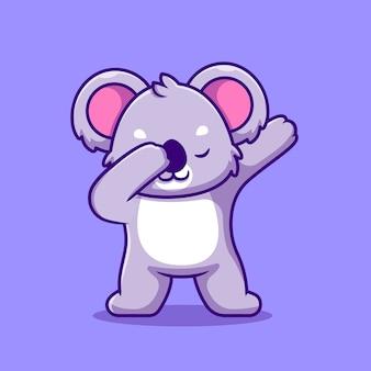 Carino, koala, tamponando, cartone animato, icona, illustrazione. natura animale icona concetto isolato. stile cartone animato piatto