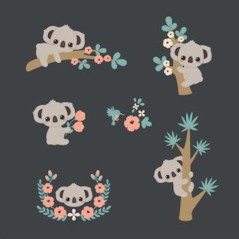 Simpatico koala in diverse pose che si arrampica su un albero sdraiato su un ramo con in mano fiori ecc