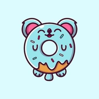 Simpatica ciambella koala mascotte personaggio illustrazione icona vettoriale