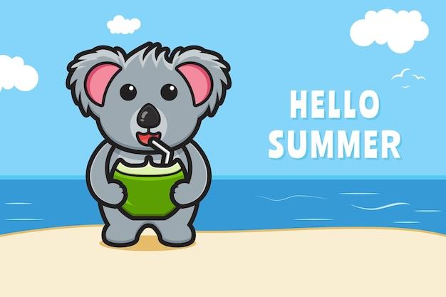 Il simpatico koala beve la noce di cocco con un'illustrazione dell'icona del fumetto dell'insegna di saluto di estate