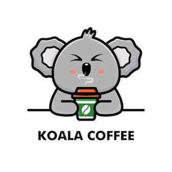 Simpatico koala bere tazza di caffè fumetto animale logo caffè illustrazione