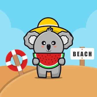 Il koala sveglio mangia l'anguria sull'illustrazione del fumetto della spiaggia