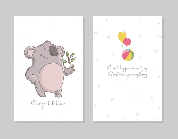 Koala sveglio che mangia eucalyptus. modello di poster doodle disegnato a mano con airballs. personaggio simpatico orso dei cartoni animati
