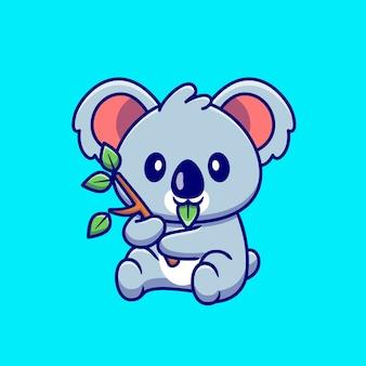 Koala sveglio che mangia fumetto della foglia. natura animale icona concetto isolato. stile cartone animato piatto
