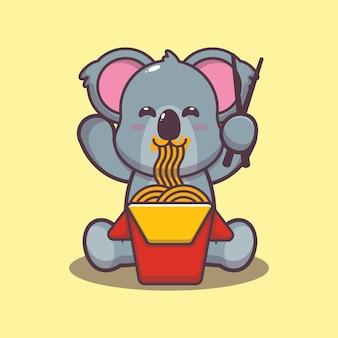 Carino koala che mangia noodle fumetto illustrazione vettoriale